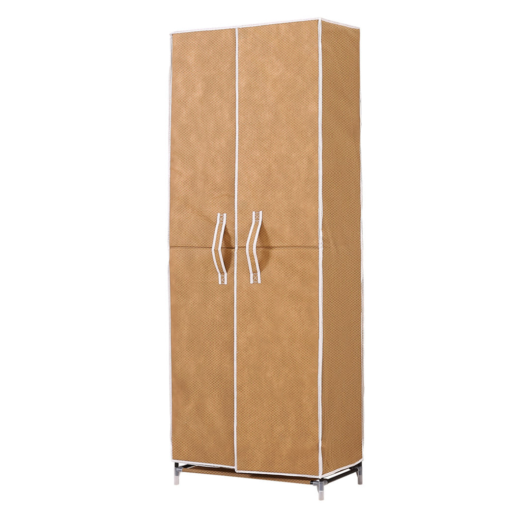 Levede 10 Tier Shoe Rack Cloth Rack with 2 Magnetic Doors in Coffee Colour