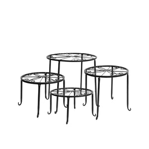 Levede 4 Pcs Round Shape Metal Plant Stand in Black Colour