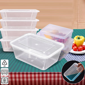 100 Pcs 650ml Take Away Food Platstic Containers Boxes Base and Lids Bulk Pack