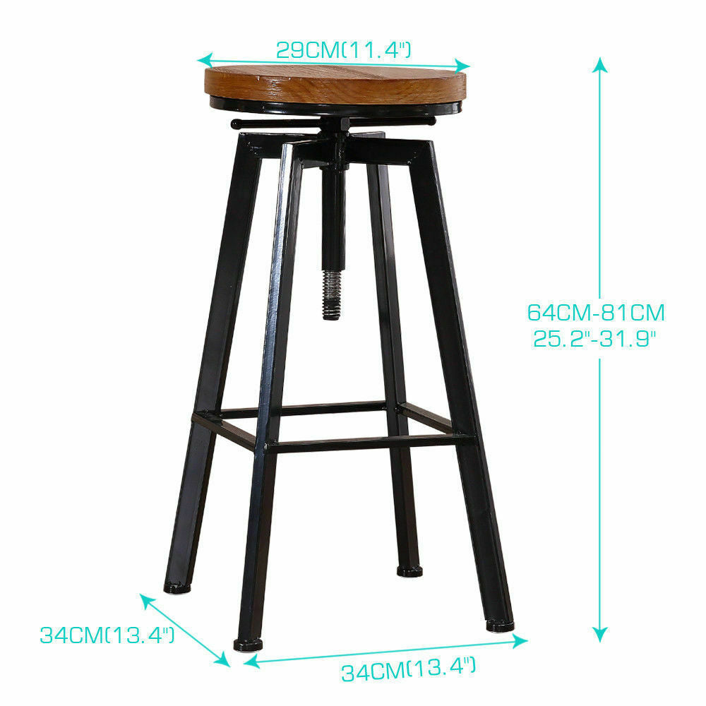 Levede 3pc Industrial Pub Table Bar Stools Wood Chair Set Home Kitchen Furniture