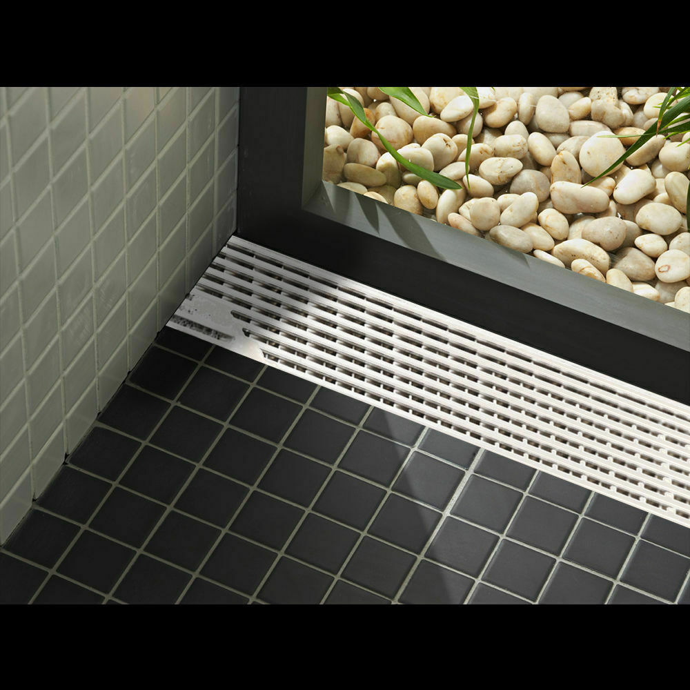 900MM Stainless Steel Tile Insert Bathroom Shower Grate Drain Floor Linear
