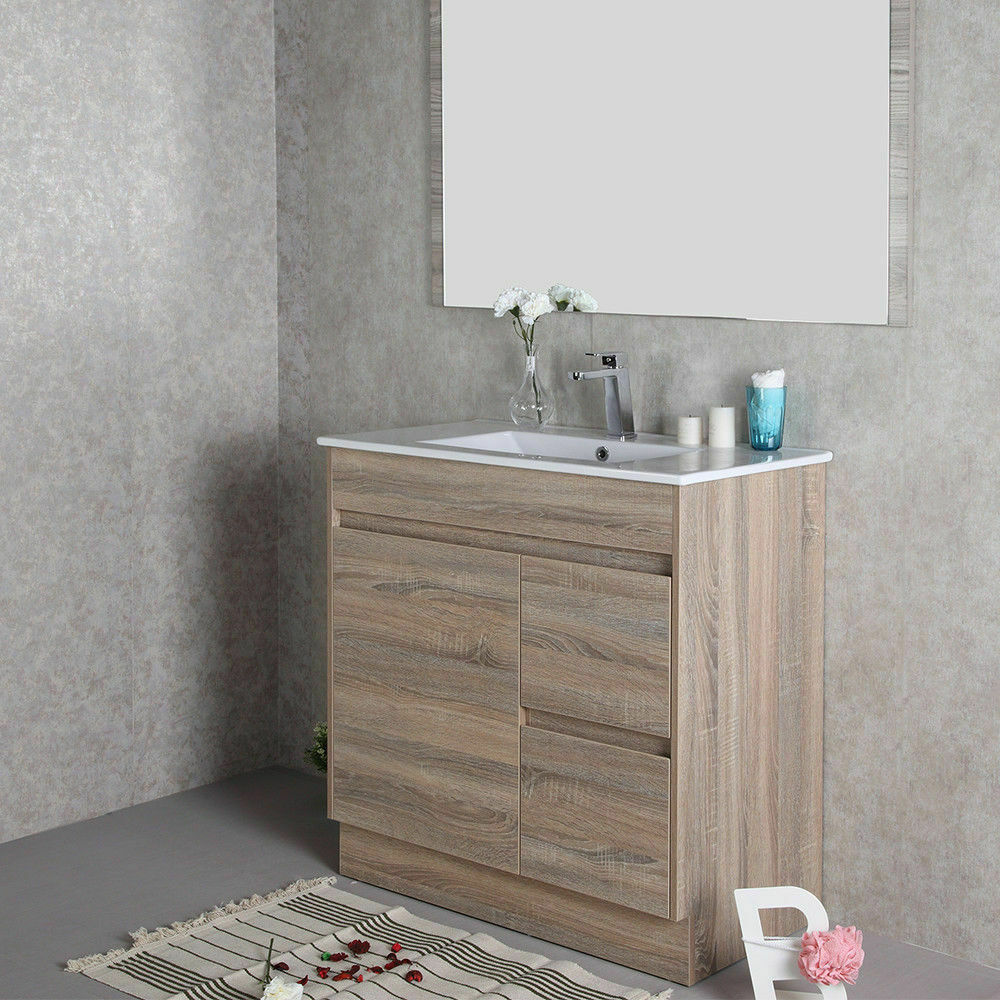 Bathroom Basin Toilet Vanity Finger Pull Storage Cabinet 750mm Stone Top