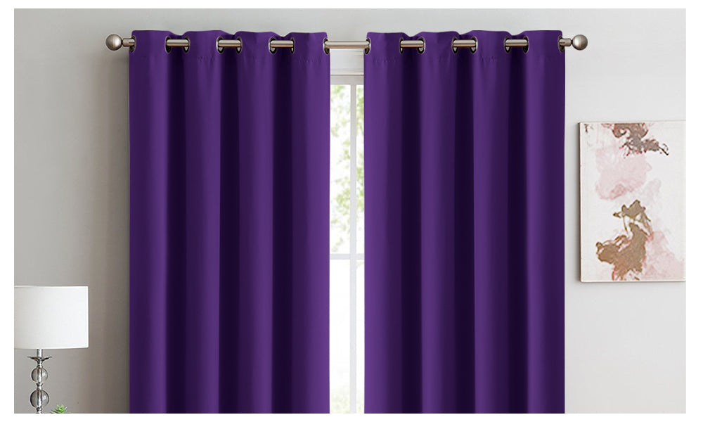 2x Blockout Curtains Panels 3 Layers Eyelet Room Darkening 300x230cm Purple