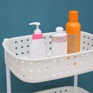 2 Tier Bathroom Laundry Clothes Baskets Bin Hamper Mobile Rack Removable Shelf