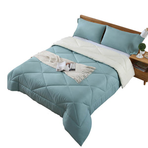 DreamZ Microfibre Reversible Quilt Duvet Cover and Pillowcase Set in Double Size