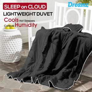 DreamZ Lightweight Quilt Duvet Covers Blanket Adults Kids Double Size Black