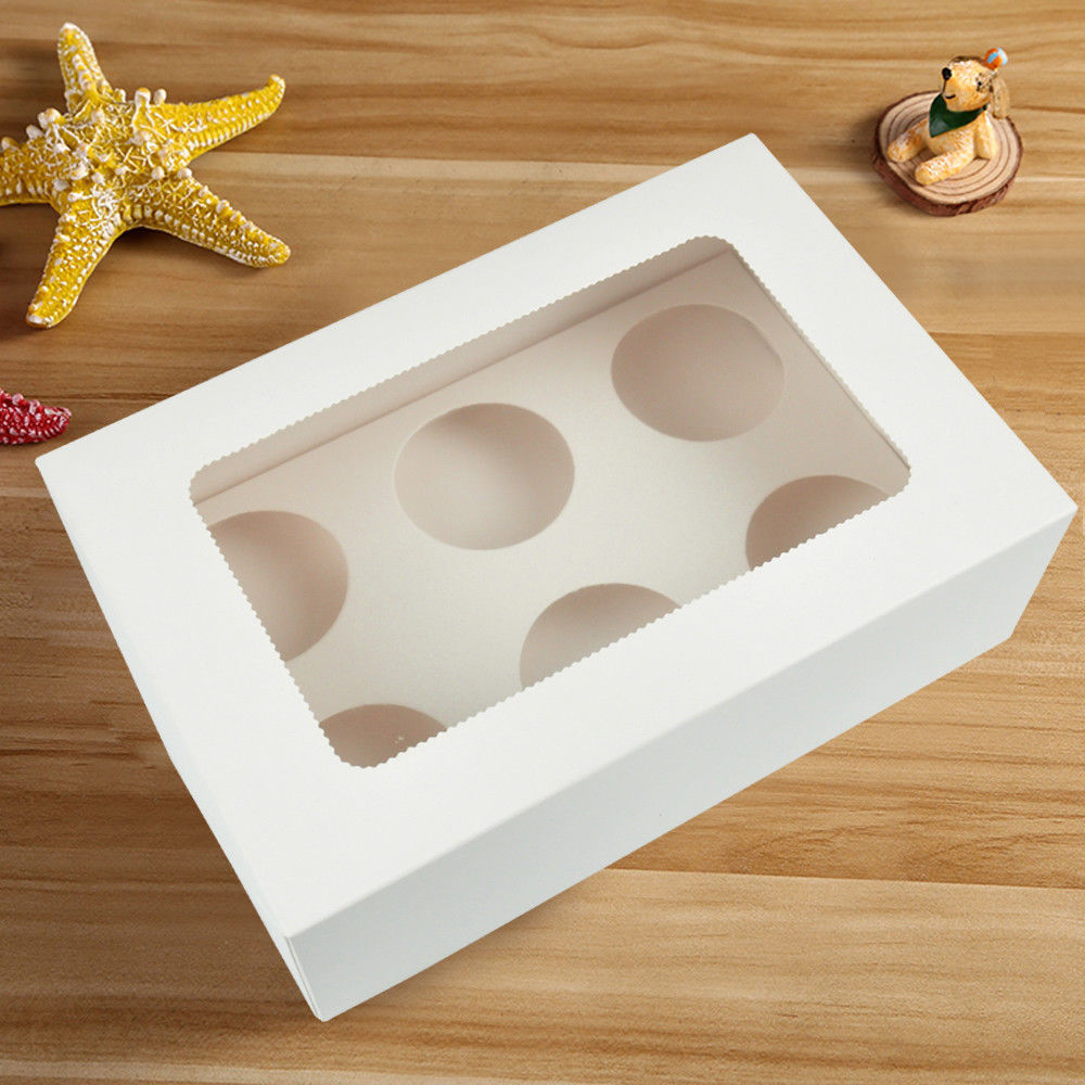 50 Pcs 6 Holes Cupcake Boxess Cupe Cake Box Window Face Cover and Inserts