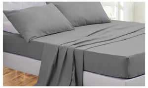 DreamZ  Queen Size 4 Piece Bed Sheet Set Flat Fitted Pillowcase Grey Colour