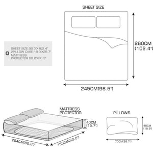 DreamZ King Size 4 Piece Bed Sheet Set Flat Fitted Pillowcase Brown Colour