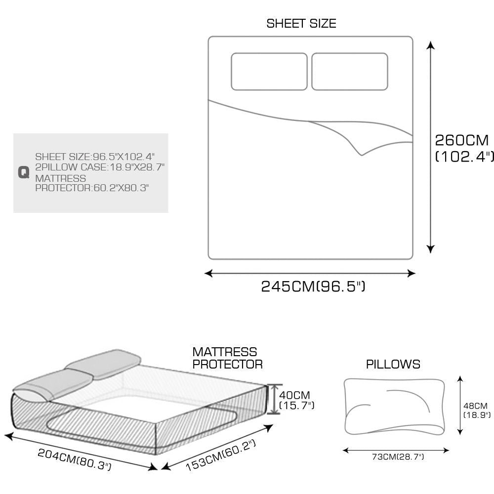 DreamZ Super King 4 Piece Bed Sheet Set Flat Fitted Pillowcase White Colour
