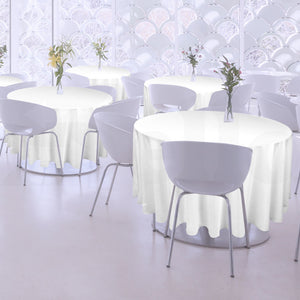 4 Pcs 220cm White Round Fitted Tableclothes Hemmed Edges Trestle Event Wedding