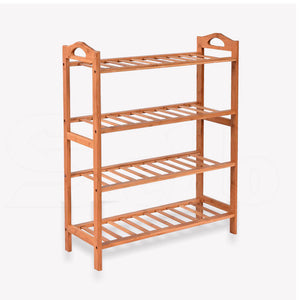 2x Levede 4 Tier Bamboo Shoe Rack Shoes Organizer Storage Shelves Stand Shelf