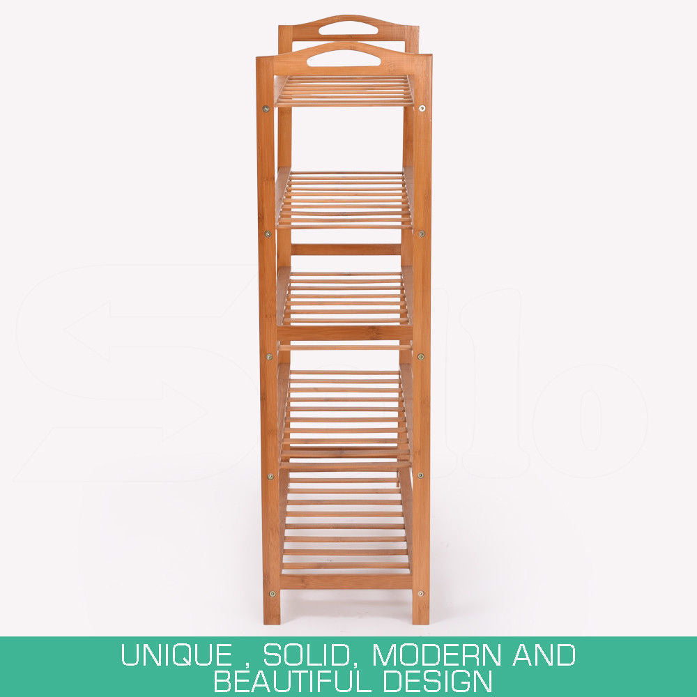 2x Levede 5 Tier Bamboo Shoe Rack Shoes Organizer Storage Shelves Stand Shelf
