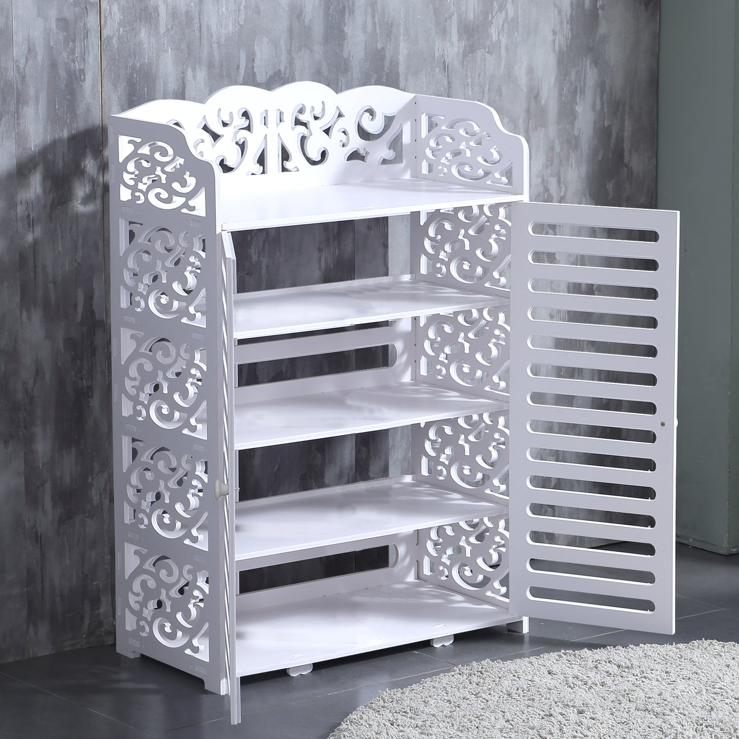Levede 5 Tier White Chic Hollow Out Shoe Rack Shoes Storage Organizer Shelf