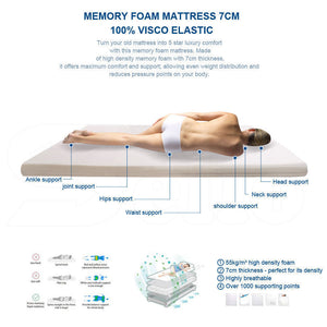 DreamZ 7cm Memory Foam Bed Mattress Topper Polyester Underlay Cover King Single
