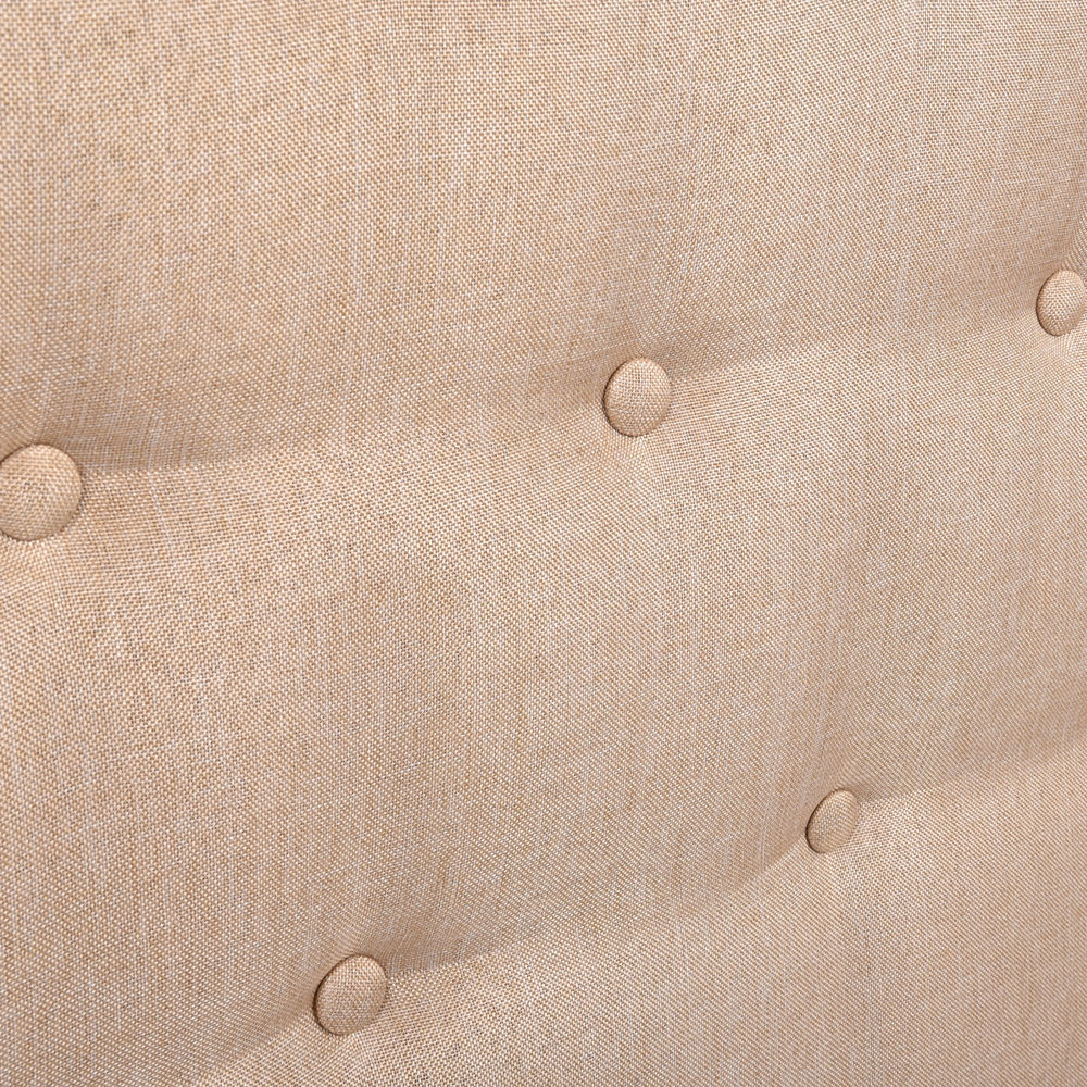 Levede Stylish Upholstered Fabric Bed Frame Mattress Base Double Beige