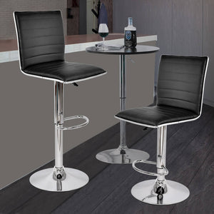 2x Levede PU Leather Swivel Bar Stools Kitchen Dining Chair Gas Lift Adjustable