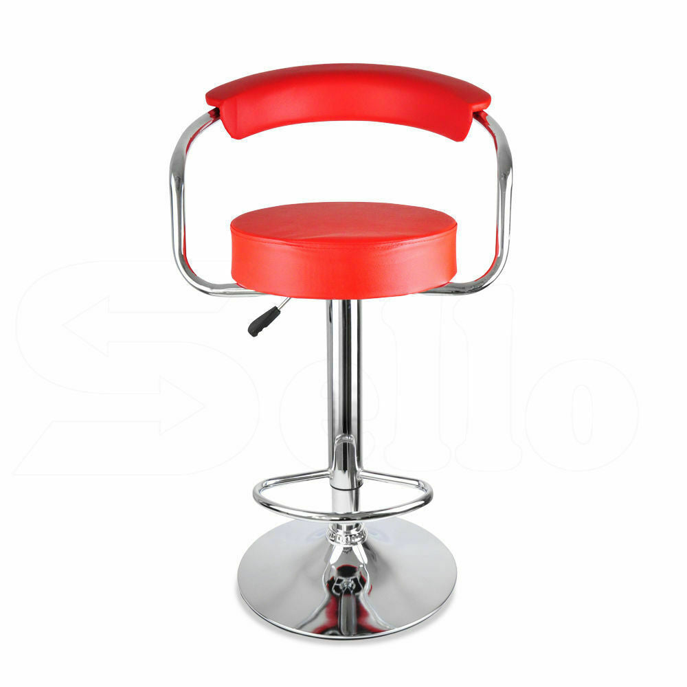 2x Levede PU Leather Swivel Bar Stool Kitchen Stool Dining Chair Barstools Red