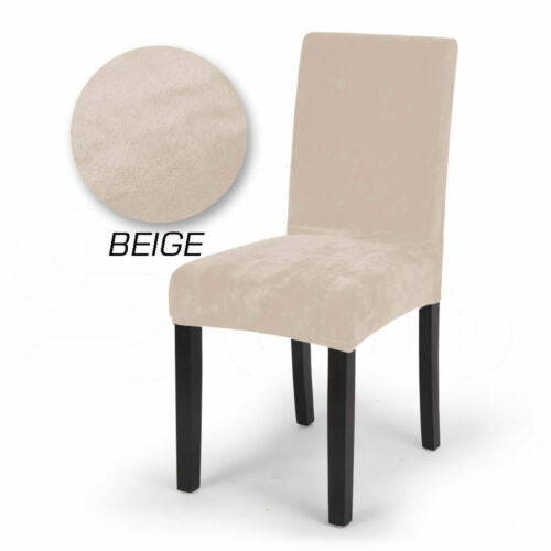 2x Stretch Corduroy Dining Chair Cover Seat Covers Protectors Slipcovers Beige