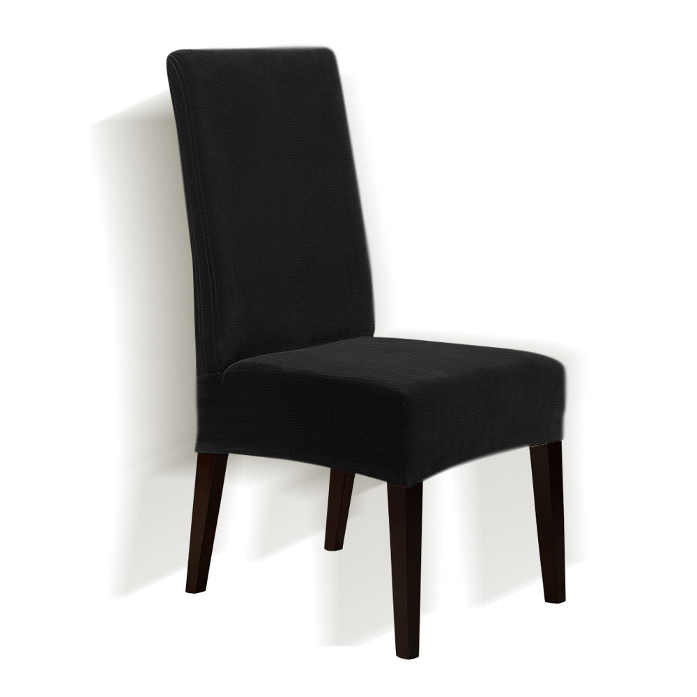 6x Stretch Corduroy Dining Chair Cover Seat Covers Protectors Slipcovers Black