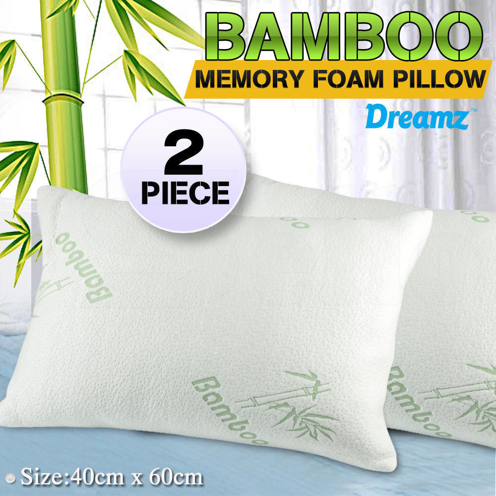 2x DreamZ Luxury Natural Memory Foam Bed Pillows Bamboo Fabric Cover 60x40cm