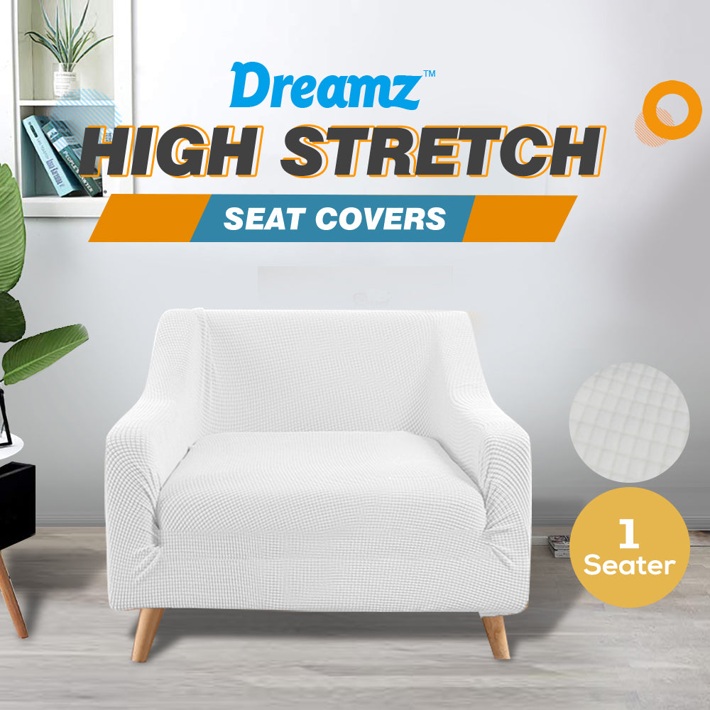 DreamZ Couch Stretch Sofa Lounge Cover Protector Slipcover 1 Seater Off White