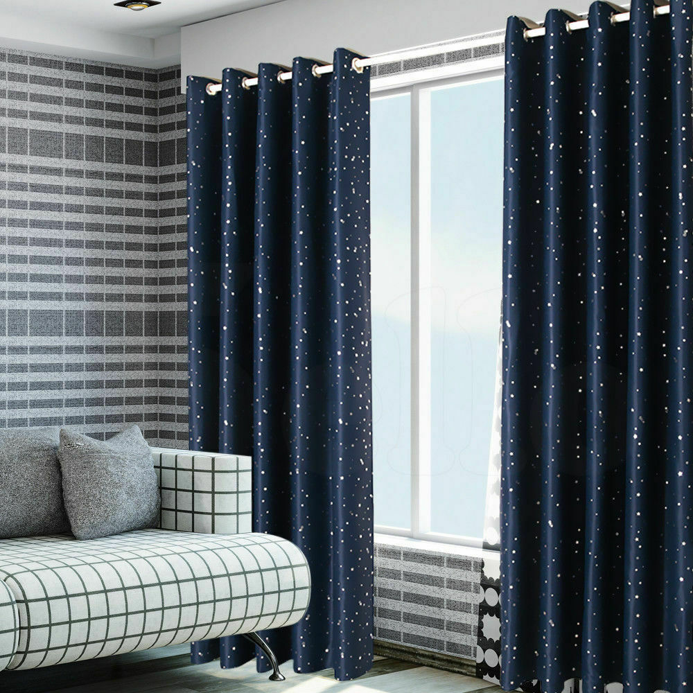 Star Blockout Blackout Curtains 3 Layers Eyelet Pure Fabric Room Darkening