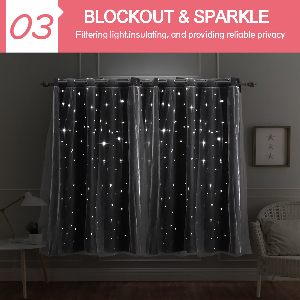 DreamZ Blockout Curtain Star Blackout Curtains Eyelet Darkening Fabric Pair Blue