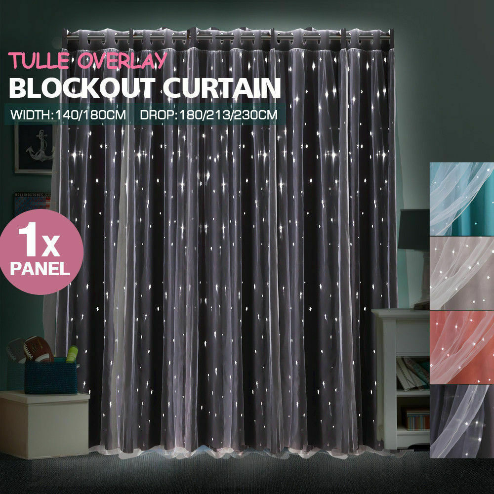 DreamZ Blockout Curtain Star Blackout Curtains Eyelet Darkening Fabric Black