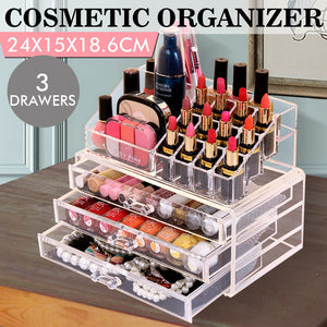 Acrylic Makeup Cosmetic Holder Jewellery Case Storage Organizer Box Drawers