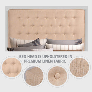 Levede Bed Frame Double Queen King Size Headboard Bed Head Fabirc Base