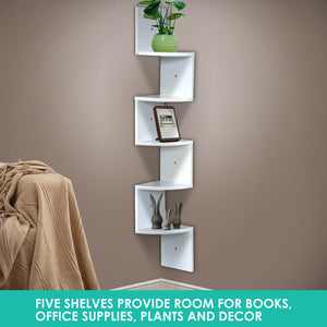 Levede 5 Tier Corner Wall Shelf Display Shelves DVD CD Storage Zig-tag Rack