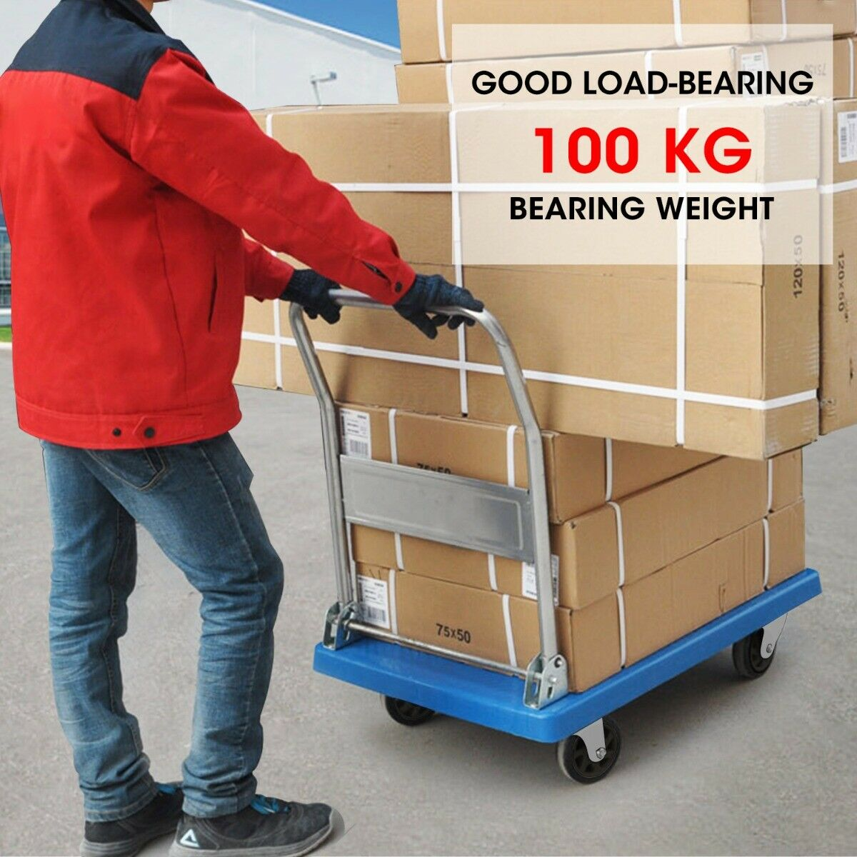 Heavy Duty 100 Kg Industrial Foldable Platform Trolley Hand Truck Foldable Cart