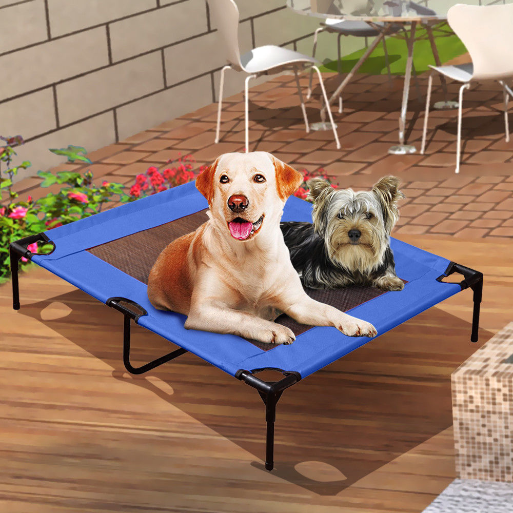 PaWz Heavy Duty Pet Bed Trampoline Dog Puppy Cat Hammock Mesh  Canvas L Black