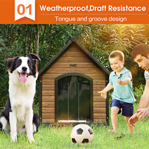PaWz All Weather Dog Kennel Kennels Outdoor Wooden Pet House Puppy Xlarge
