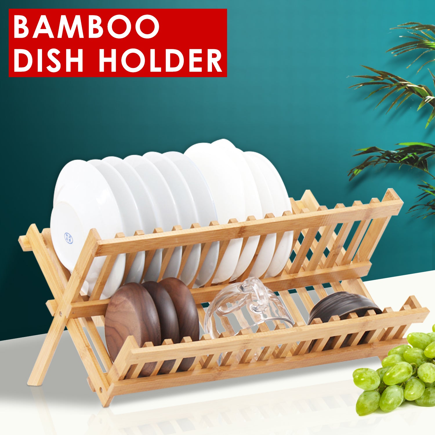 Dish Rack Bamboo Foldable Drainer Drying Dish Holder Plate Utensil Cultery Tray