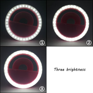 Rechargeable Selfie LED Light Flash Fill Ring Clip Camera Samsung iPhone Black