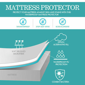 DreamZ Fitted Waterproof Mattress Protector with Bamboo Fibre Cover Double Size
