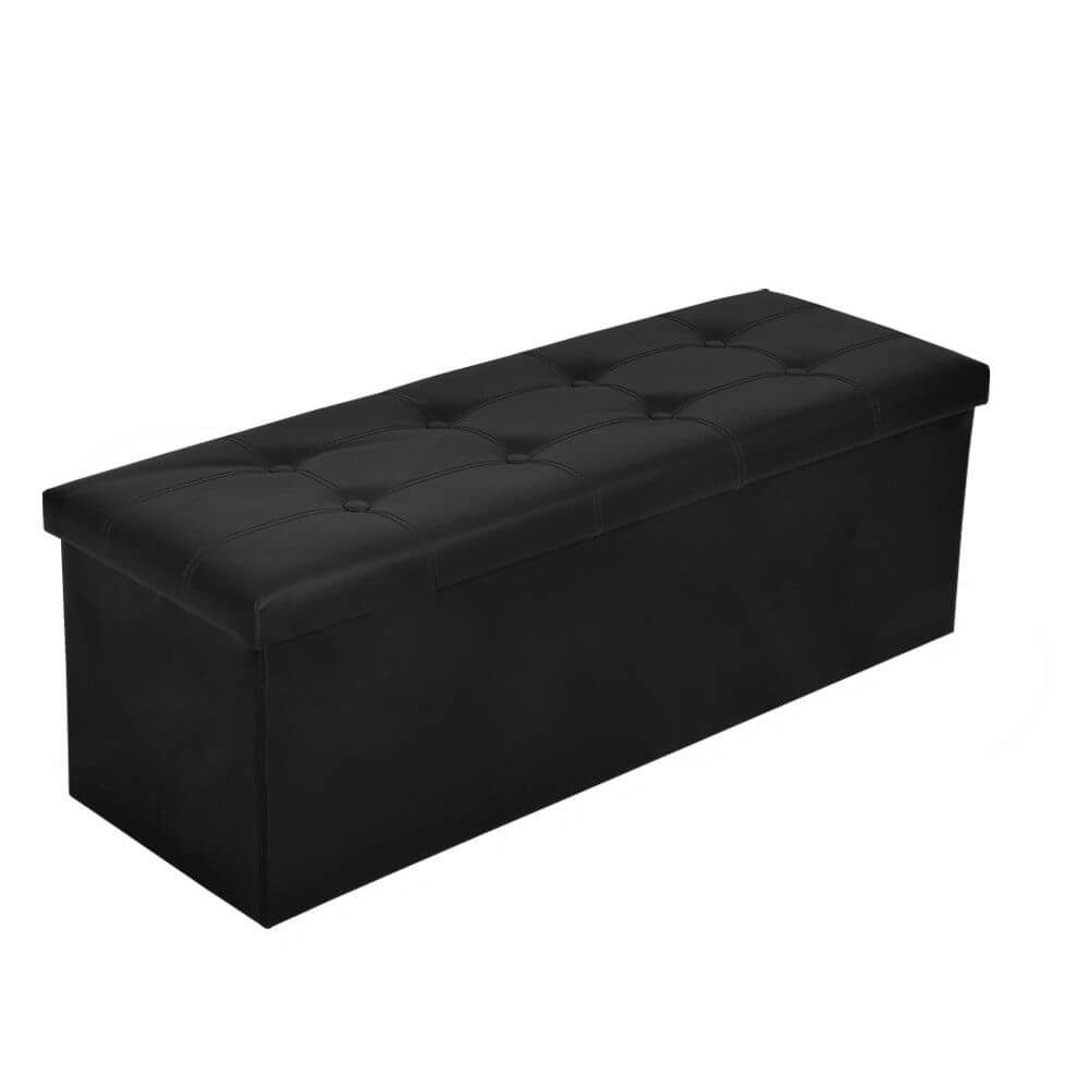 Folding Storage Tufted Ottoman Box Coffee Table Foot Rest Stool Bench-Leather