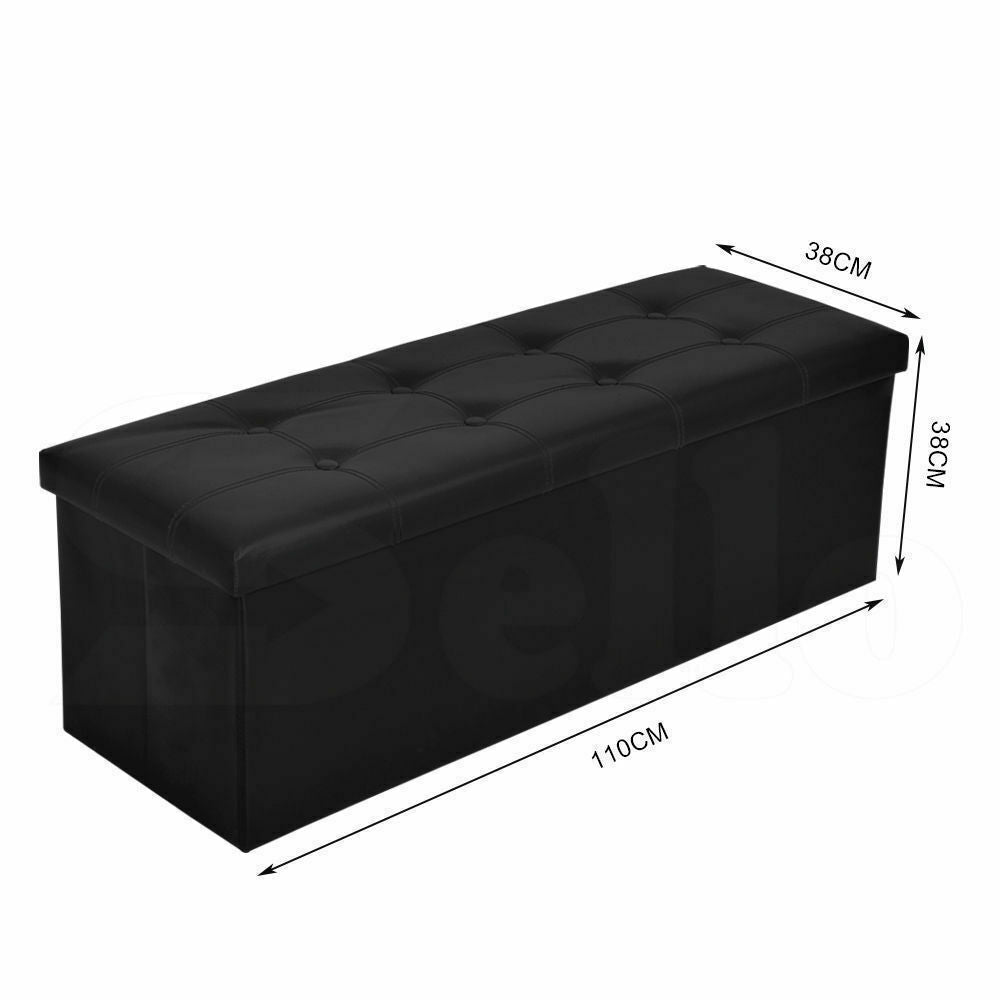 Levede Folding Storage Tufted Ottoman Box Coffee Table Foot Rest Stool Bench