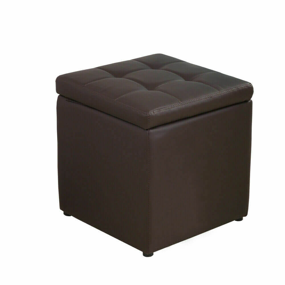 2x Levece Leather Cube Ottoman Box Hinge Top Seat Lounge Footstools Rest Storage