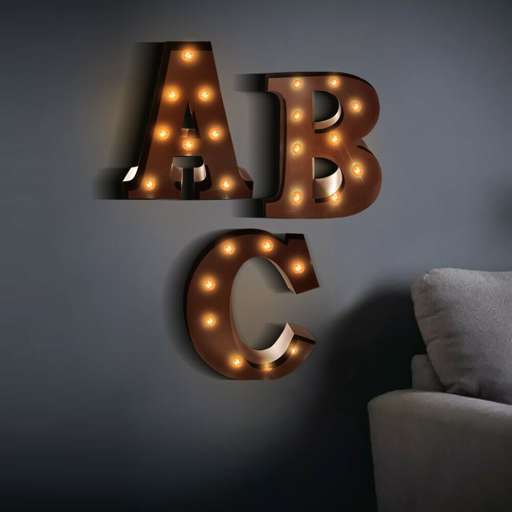 LED Metal Letter Lights Free Standing Hanging Marquee Event Party D?cor Letter C