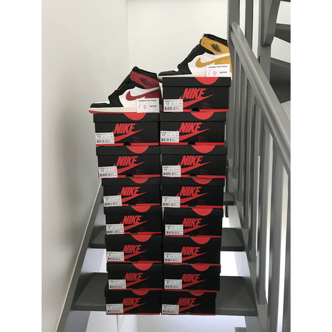 Air Jordan 1 Track Red and Yellow Red - Sneakersfromfrance stock