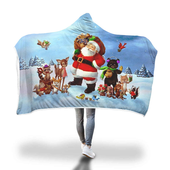 Santa and his Animal Helpers Hooded Blanket