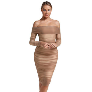 Chestnut Tulle Off the Shoulder Ruched Bodycon Dress Bodycon