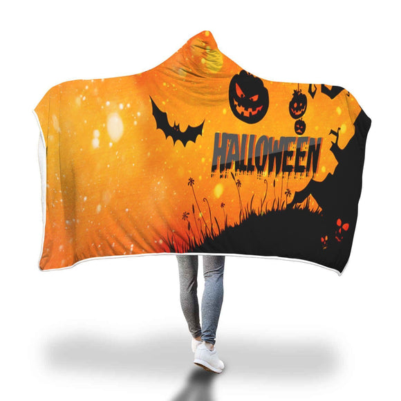 Bat and Pumpkin Halloween Hooded Blanket Hooded Blanket
