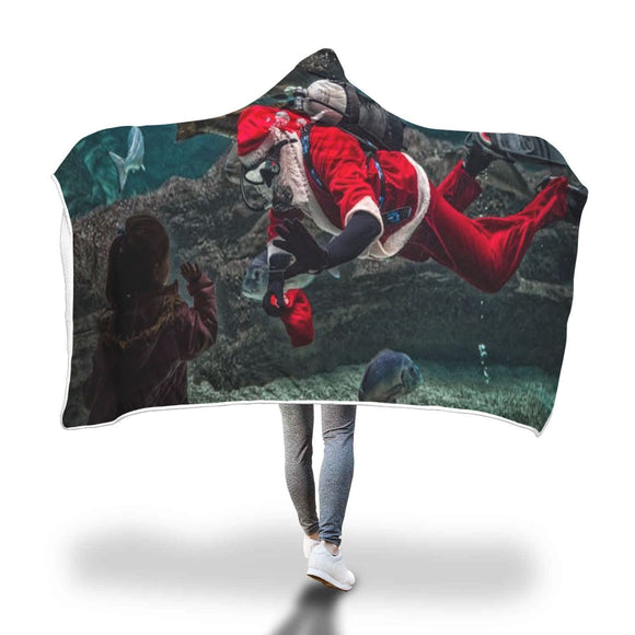 Father Christmas Under Water Hooded Blanket Hooded Blanket