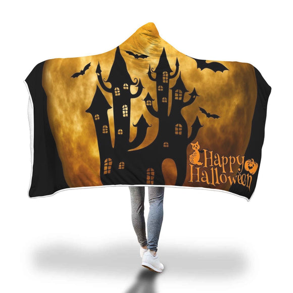 Witch's Castle Halloween Hooded Blanket Hooded Blanket