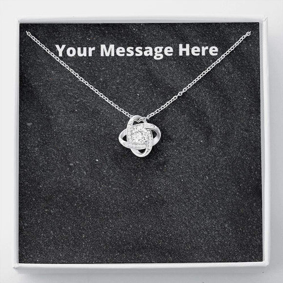 Love Knot Necklace with On Demand Message Card Jewelry