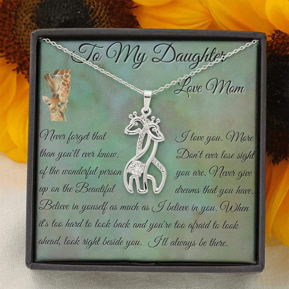 To My Daughter, I will alway be there  Giraffe Necklace Jewelry